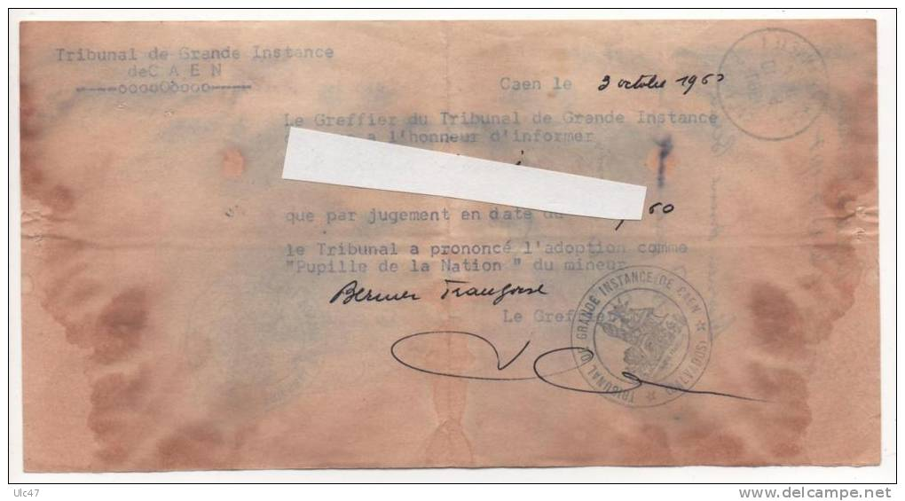 - Tribunal De Grande Instance De CAEN. - Pupilles De La Nation. - Document Rare - Scan Verso - - Radio