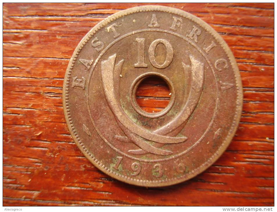 BRITISH EAST AFRICA USED TEN CENT COIN BRONZE Of 1936 (KN) - EDWARD. - British Colony