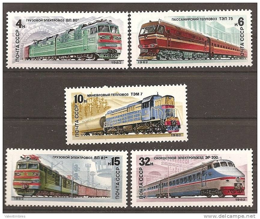 Trains Locomotives ** MNH Russie 4907/11 - Treni