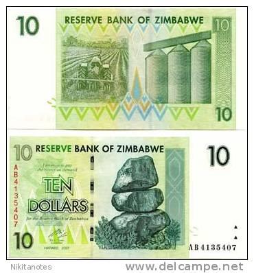 ZIMBABWE: 5 PC 2007 UNC 3RD ISS. BANKNOTE SET, $1-1000 - Zimbabwe