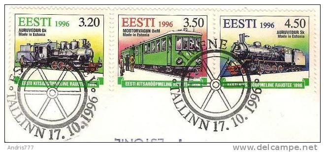 Estonia Estland Estonie 1996 (10) Centenary Of Estonian Narrow - Gauge Railway Locomotive (addressed FDC) - Estonie
