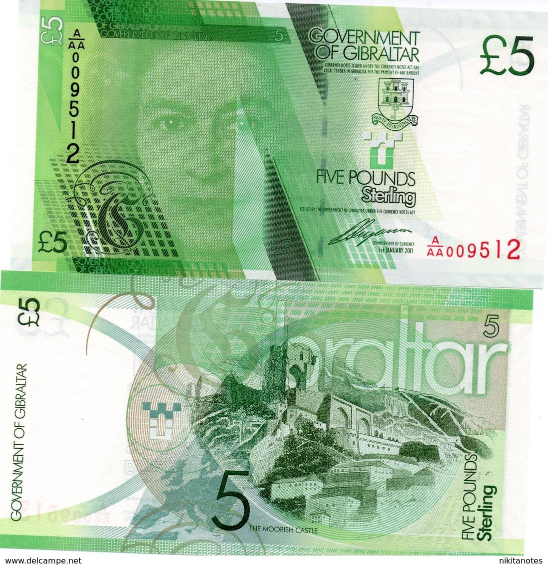 GIBRALTAR 5 POUNDS 2011 Gibilterra Banconota 5 Pounds P35  Unc - Gibilterra