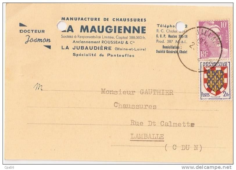 Carte De La  Manufacture De CHAUSSURES - La MAUGIENNE - La JUBAUDIERE - Oblitération JALLAIS 25/11/1952 - France