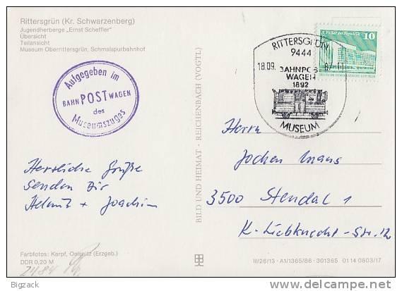 DDR AK EF Minr.2848 SST Rittersgrün 18.9.87 Bahnpostwagen, Nebenst. Aufgegeben Im Bahnpostwagen - DDR