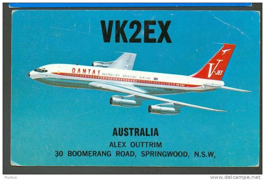 BOEING , QUANTAS  AIRLANES   QSL CARD  SPRINGWOOD  AUSTRALIA - 1946-....: Moderne