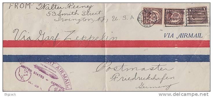 USA Zeppelin-Brief Mif Minr.2x 274,283 28.10.28 Gel. Nach Deutschland - Luftpost