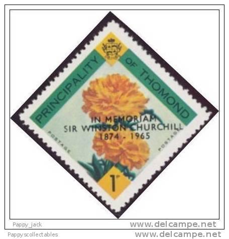 LABEL THOMOND Diamond Shaped CHURCHILL Carnation Flowers Ovp´t In BLACK 1965 MNH - Fantasy Labels