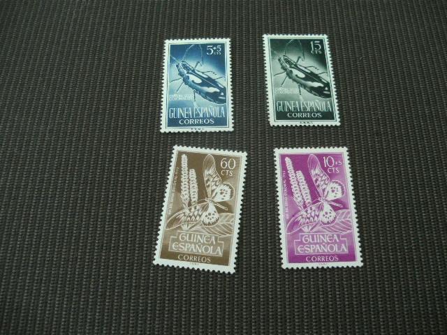 F466-  Set Mint Hinged Guinea Espanola -1953-  Bugs  Sc. 331-332-B27-28 - Non Classés