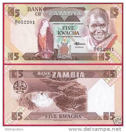 ZAMBIA BANKNOTE 5 KWACHA P25 UNC - Sambia