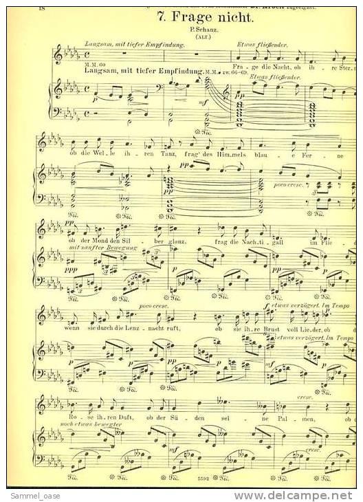 1912 Notenheft  - 14 Lieder Für Eine Singstimme Und Pianoforte  -  Von K. Wilh. Wolf - Varia