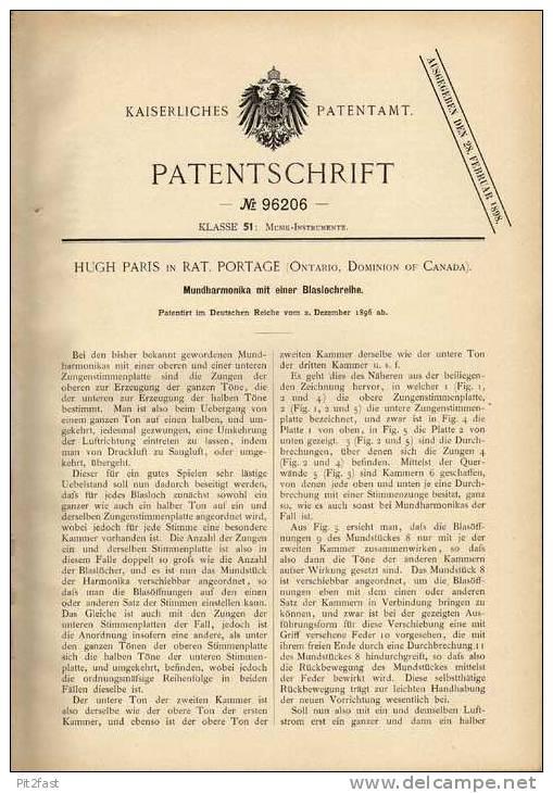 Original Patentschrift - Mundharmonika , 1896 , H. Paris In Rat. Portage , Ontario , Canada !!! - Musikinstrumente