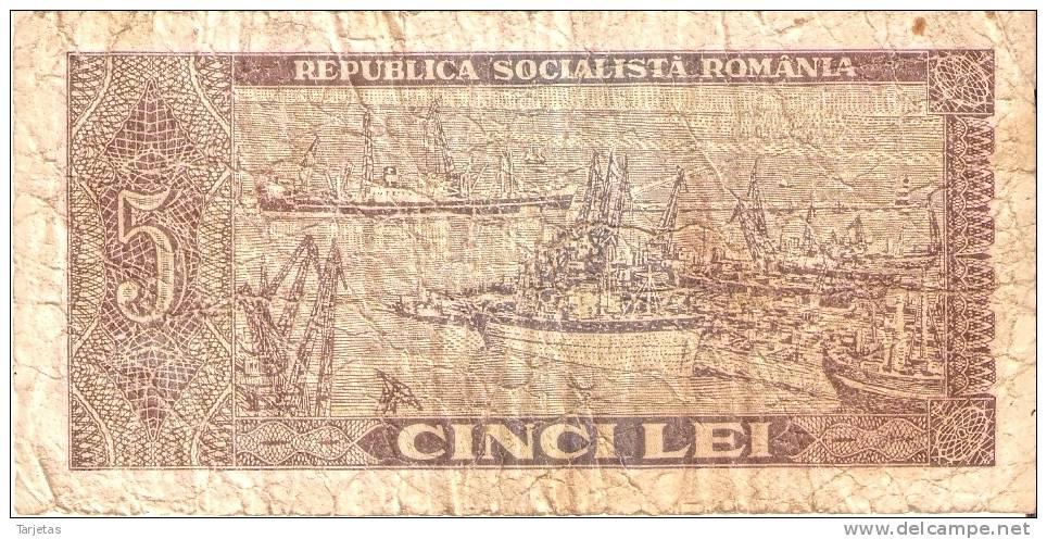 BILLETE DE RUMANIA DE 5 LEI DEL AÑO 1966 (BANKNOTE) - Rumania