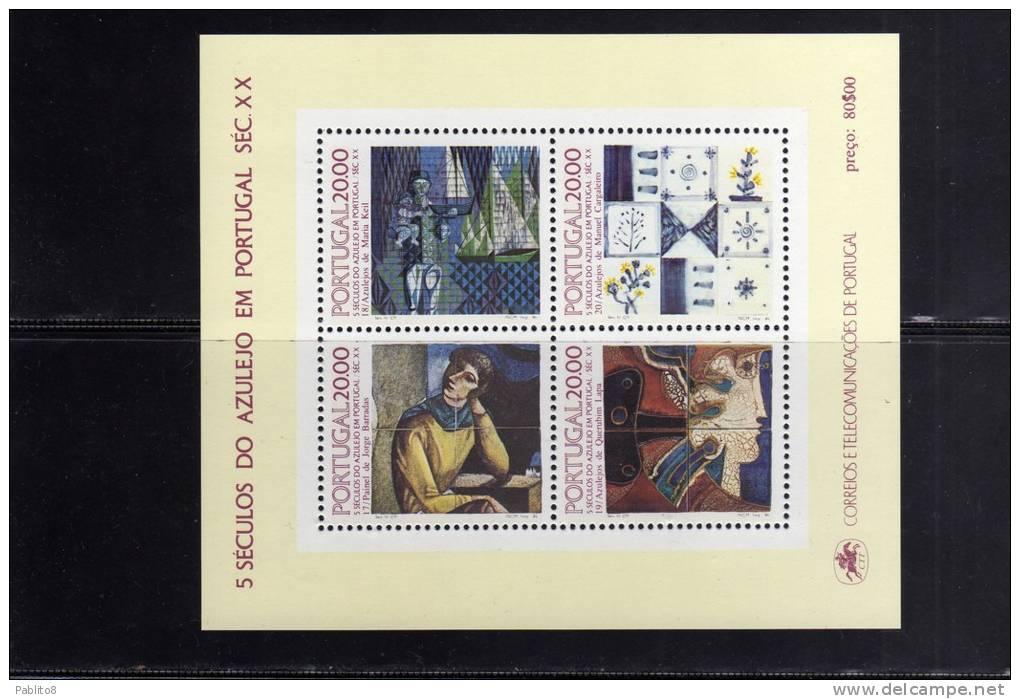 PORTOGALLO - PORTUGAL 1985 5 SECOLI DI MAIOLICHE FOGLIETTO - AZULEJO BLOCO - MAJOLICAS SOUVENIR SHEET MNH - Blocks & Kleinbögen