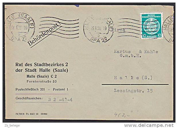 DDR Brief Behördenpost HALLE (SAALE) Rat Des Stadtbezirkes Als Ortsbrief - [6] République Démocratique