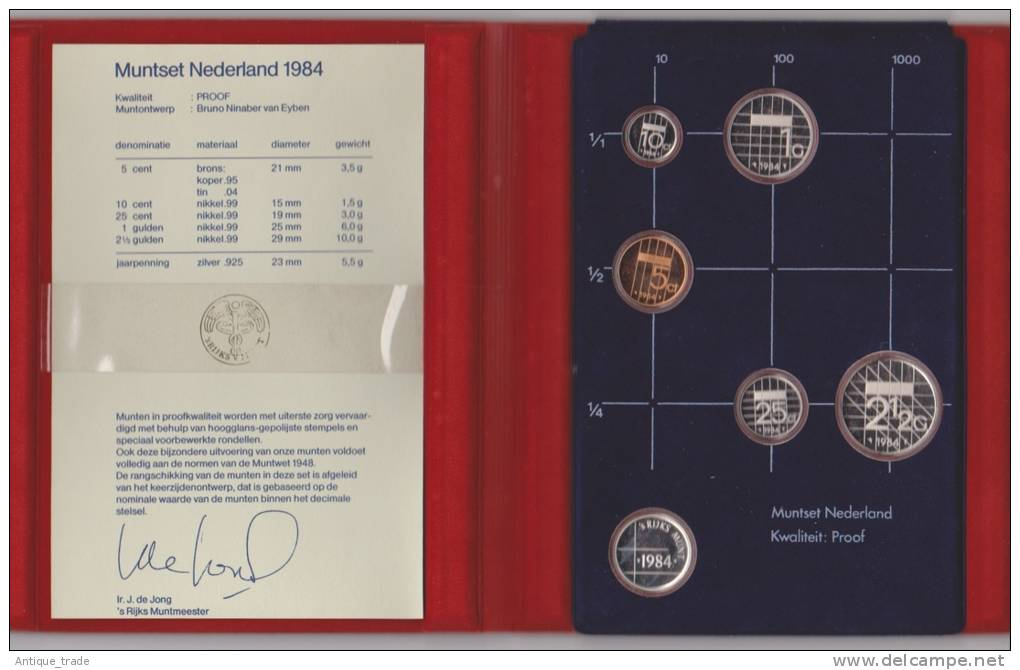 PAYS-BAS / NETHERLANDS : KM #PS29 - 5-coins & Silver Medal Year Set (1984) PROOF In Official Folder - Pays-Bas