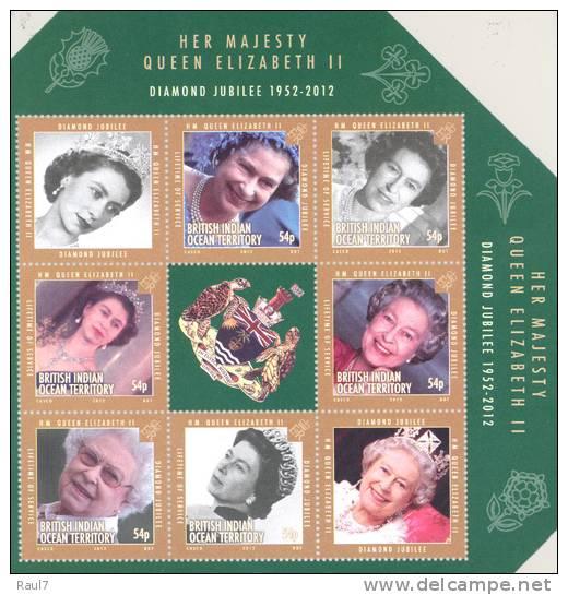 B.I.O.T. - 2012 - Jubilée Diamant Elisabeth II - Feuillet Neufs ** // Mnh - Territoire Britannique De L'Océan Indien