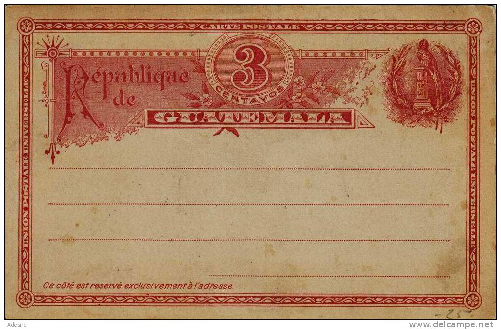 GUATEMALA - Postkarte Als Ganzsache Mit 3 Centavos Ungelaufen 1895-1900 - Guatemala