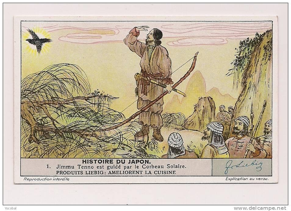 ### Chromo, Liebig, Histoire Du Japon, Jimmu Tenno Est Guidé Par Le Corbeau Solaire, Explication Au Verso - Liebig