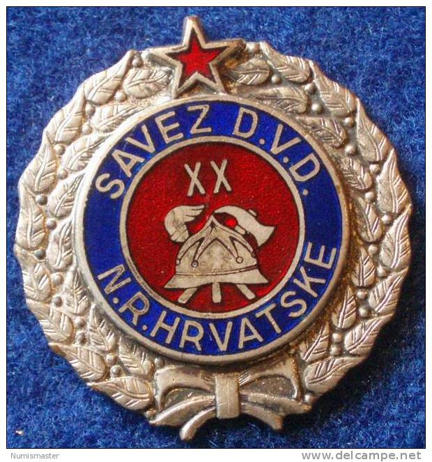 FIREFIGHTING , YUGOSLAVIA , CROATIA , 20 YEARS OF SERVE , BREAST BADGE - Pompiers