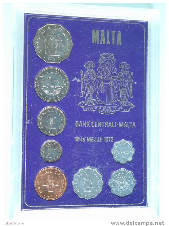 1972 ( 8 ) MINT SET - Mintage 8000 Scarce / MS1 ( KM5-12 ) - ( For Grade, Please See Photo ) !! - Malte
