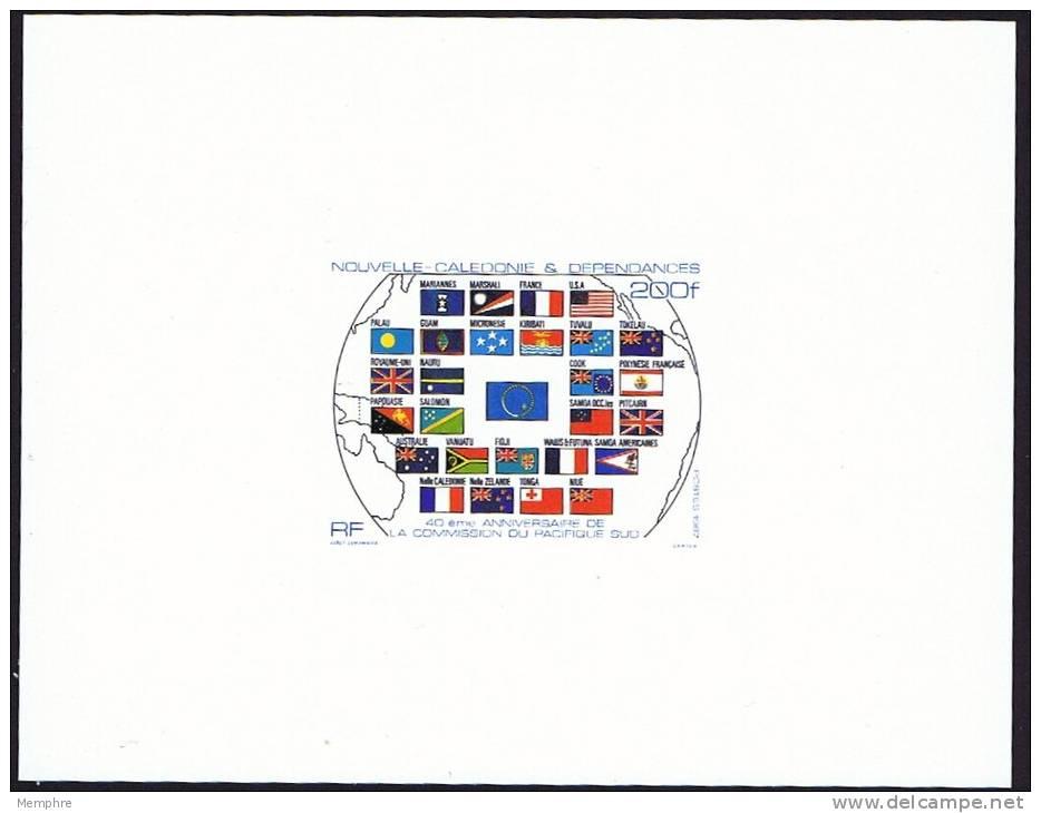 1987 Epreuve De Luxe Sur Bristol -- 40è Ann. Commission Du Pacifique-Sud Y&T 544  Drapeaux, Flags - Non Dentelés, épreuves & Variétés