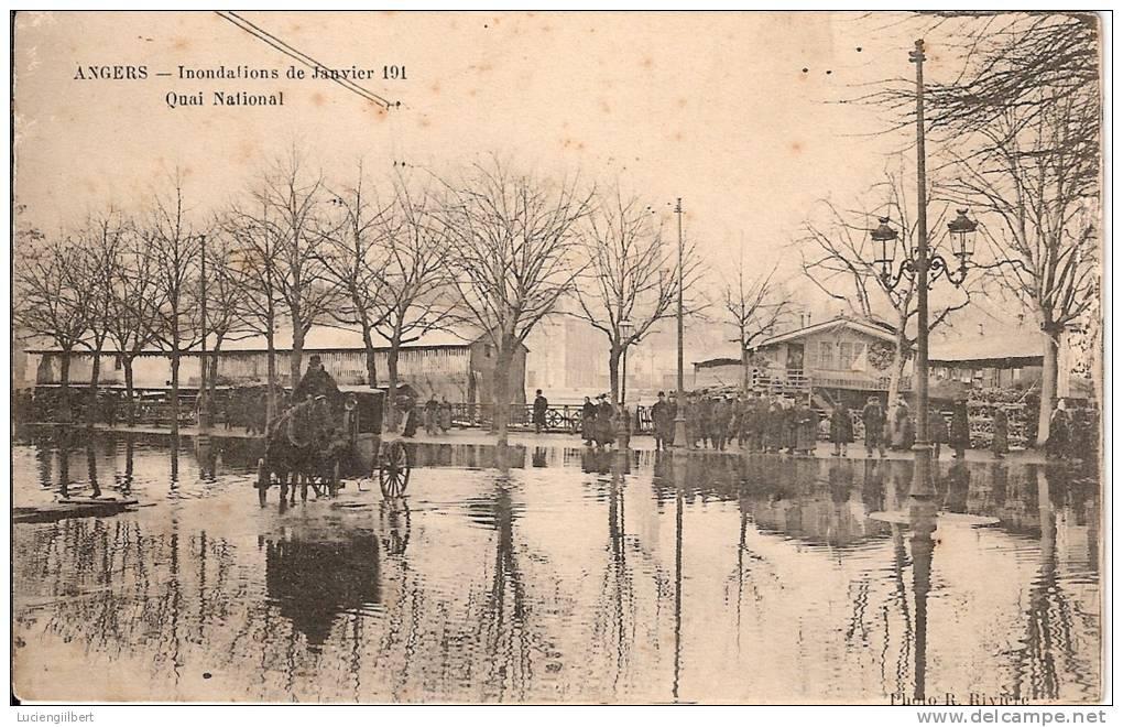 CPA MAINE ET LOIRE (49) ANGERS  INONDATION 1910  Quai National  ANIMATION - Angers
