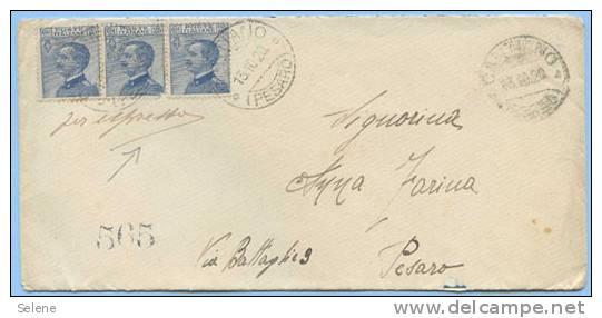 1920 MICHETTI C.25 STRISCIA DI 3 (UNO CON ANGOLO DIFETTOSO) BUSTA X ESPRESSO 13.10.20 TIMBR....VEDI DESCRIZIONE (DC3913) - Storia Postale