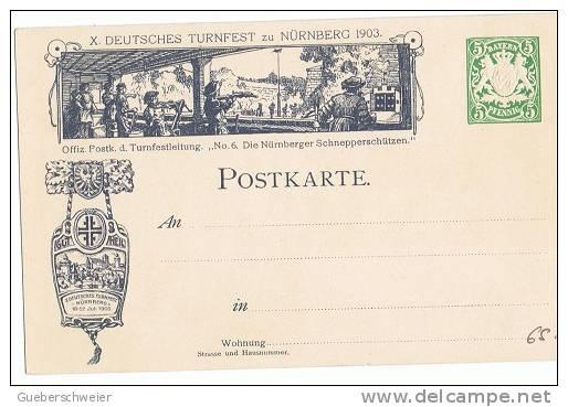 BAVIERE Entier Postal Illustré Fête Des Gymnastes 1903 Thèmes Costumes , Tir à L'arbalète, Gymnastique - Bavaria