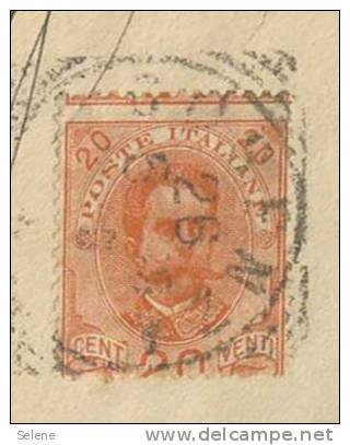 1899 UMBERTO C. 20 VARIETÀ DENTELLATURA SPOSTATA IN BASSO ISOLATO SU COPERTA DA COSENZA 28.5...VEDI DESCRIZIONE (DC4010) - Usati