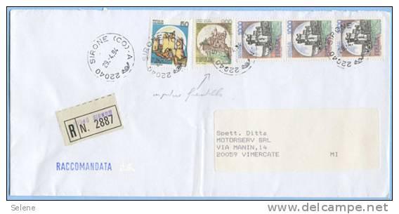 CASTELLI L. 900 GIALLO SPOSTATO ED EVANESCENTE BUSTA ACCOMANDATA 29.4.94 OTTIMA QUALITÀ (DC3960) - 6. 1946-.. Repubblica