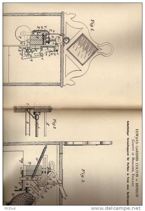 Original Patentschrift - Verkaufsapparat Für Parfüm , 1887 , E. Colton In Hendon , England !!! - Bottles (empty)