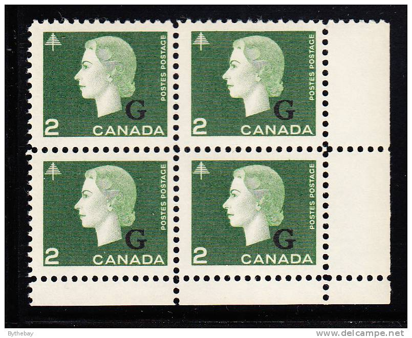 Canada MNH Scott #O47 2c Cameo With ´G´ Overprint Lower Right Plate Block (blank) - Overprinted
