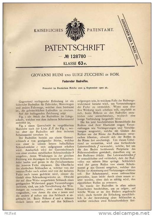 Original Patentschrift - G.Ruini In Rom , 1900 , Federnder Reifen , Radreifen , Rad !!! - Cars