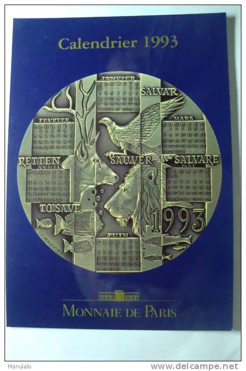 Monnaie De Paris - Méaille Calendrier 1993 Ecologie Par Jacky Mauviel - Monnaies (représentations)