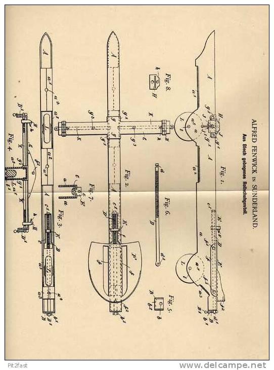 Original Patentschrift - A. Fenwick In Sunderland , 1901 , Rollschuhgestell , Rollschuhe , Schlittschuhe !!! - Antikspielzeug