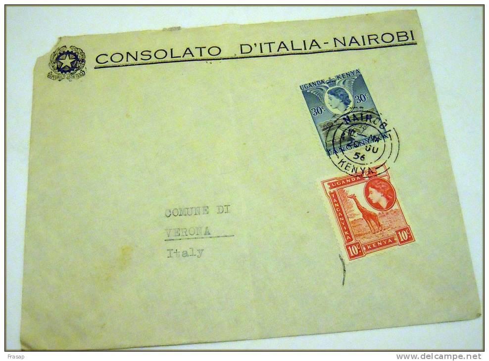 COVER CONSOLATO D ITALIA NAIOROBI   TO ITALY VERONA - Kenya (1963-...)