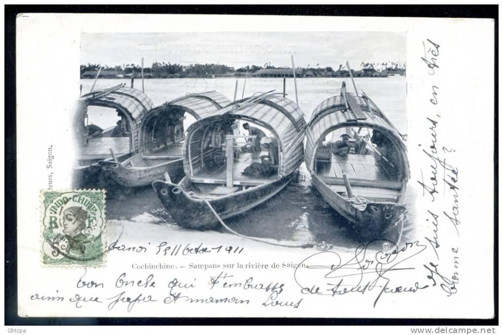 CPA.  Viêt-Nam.   Cochinchine.  Sampans Sur La Rivière De Saïgon. - Viêt-Nam