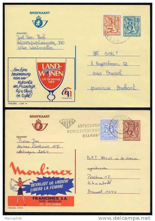 BELGIQUE - PUBLIBEL / ENSEMBLE DE 8 ENTIERS POSTAUX PUBLICITAIRES / 5 IMAGES (ref 1103) - Enteros Postales
