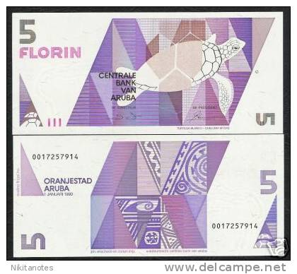 ARUBA 5 FLORIN P6 1990 TURTLE COLORFUL UNC SCARCE BANK NOTE - Banconote