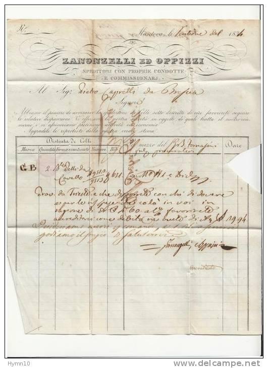 DA426-1834 Fattura MANTOVA-BRESCIA-da ZANONZELLI ED OPPIZZI-timbro LINEARE Con Datario - Italien