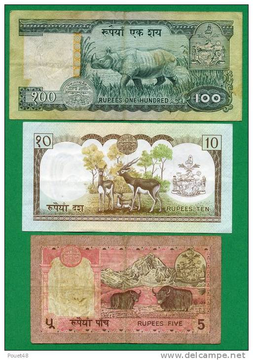 Lot De 3 Billets 5, 10, 100, Rupees - Nepal