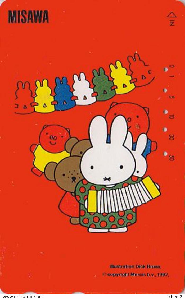 Télécarte Japon / 110-016 - Musique ACCORDEON / Lapin MIFFY / DICK BRUNA - Rabbit Japan Music Phonecard Akkordeon - 57 - BD