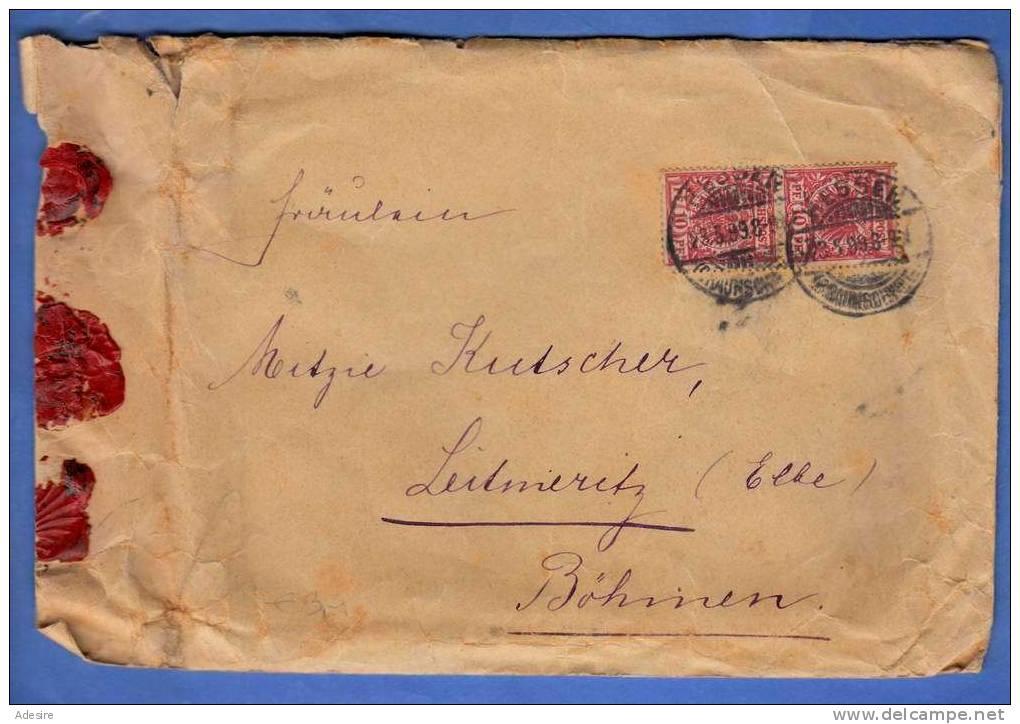 Siegel Brief D-Reichspost 1899 Mit Seltener Frankierung V. Braunschweig N.Leitmeritz (Böhmen) - Brieven En Documenten