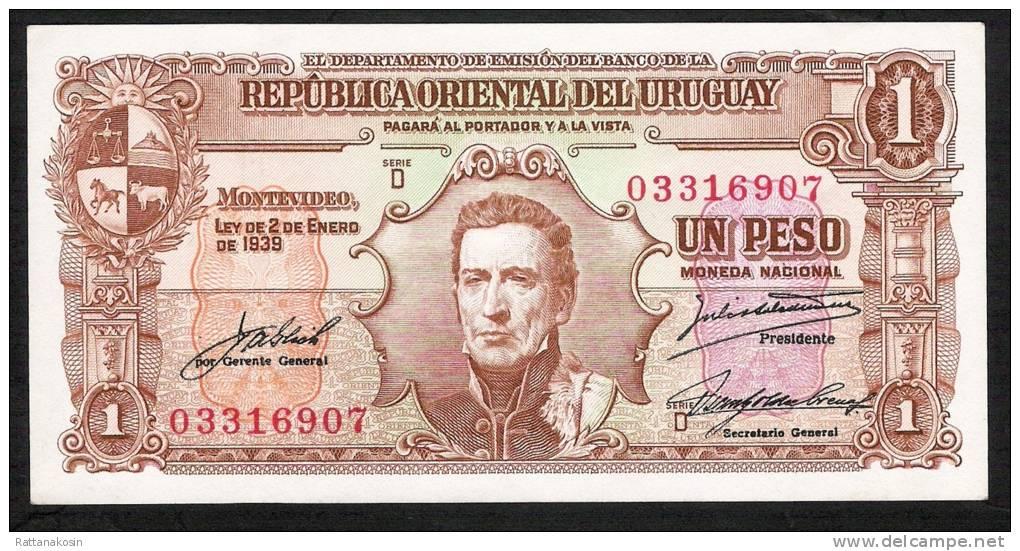 URUGUAY   P39c   1 PESO   1939 Serie D   UNC. - Uruguay