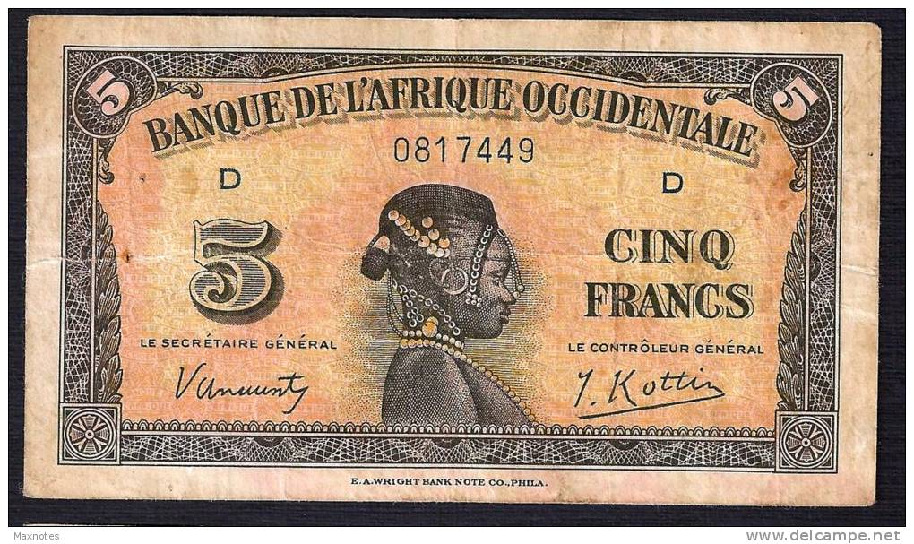 AFRIQUE OCCIDENTALE (French West Africa)  :  5 Francs - 1942  - P28a - 0817449 - Banconote