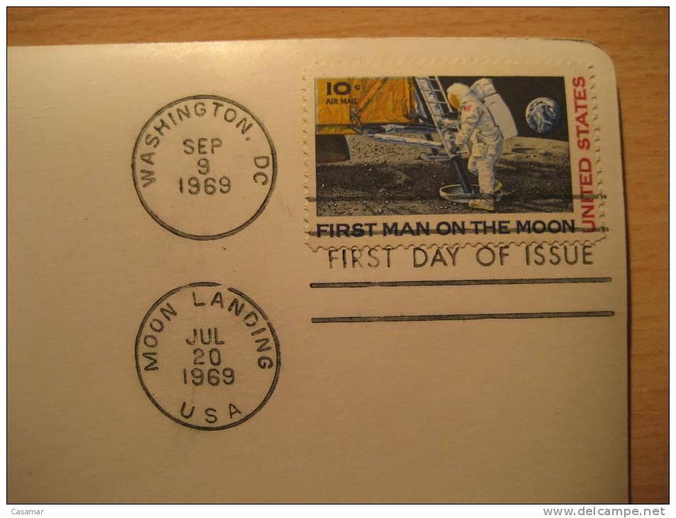 USA Moon Landing Washington 1969 Planet Rocket Spacecraft Space Spatial Espace Cosmos Astronomy Post Card - Astronomia