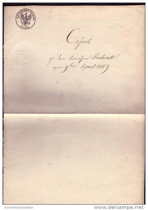 """Gebührenstempel""""Ein Halber Thaler 15Gr."""" Auf Altem Schreiben Von 1829 ! - Gebührenstempel, Impoststempel"""
