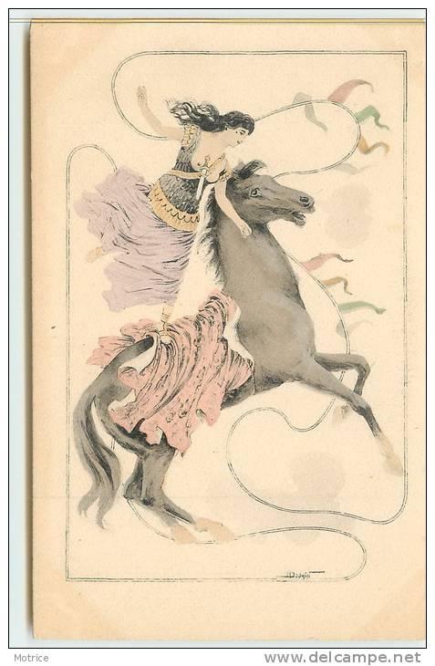 FEMME AU CHEVAL  (carte Illustrée Par Douin) - Other Illustrators
