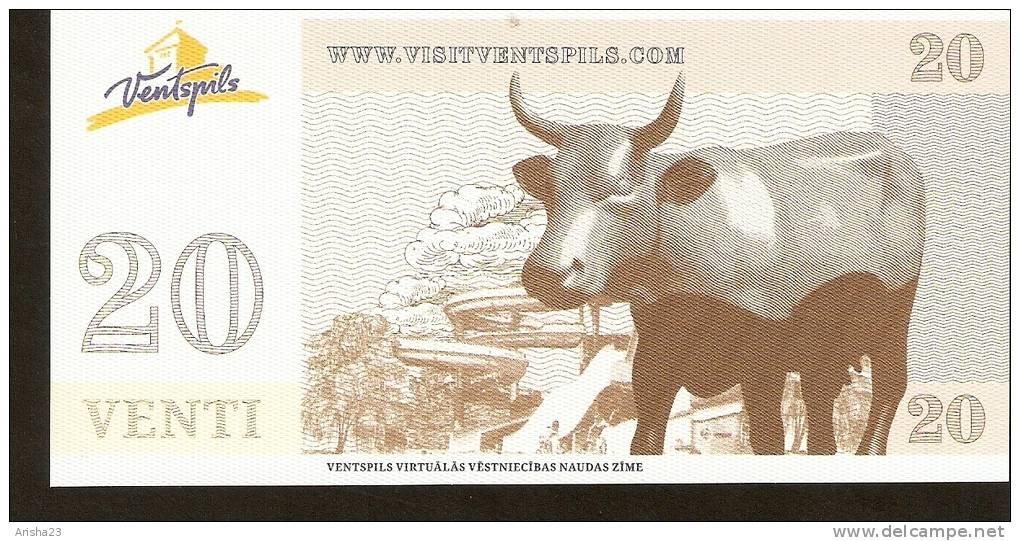 Latvia, Ventspils - 20 VENTI - UNC - Cow Parade Aquapark - Lettonie