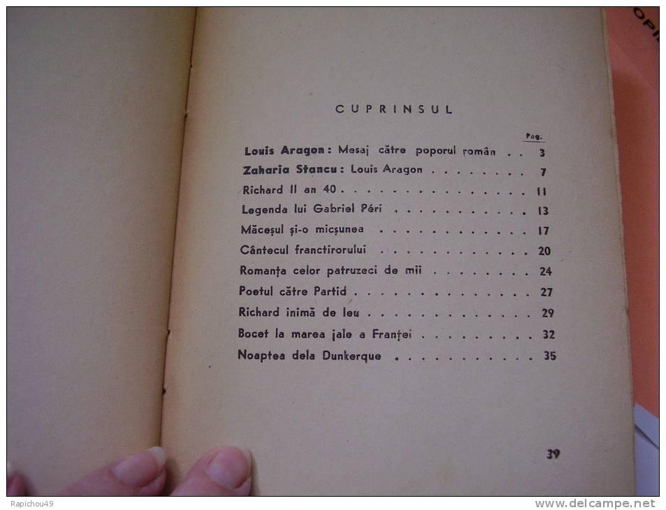 R A R E .... POEME De ARAGON En ROUMAIN - EDITURA SCANTEIA - 1947 - In Romaneste De VERONICA PORUMBACU - Livres, BD, Revues